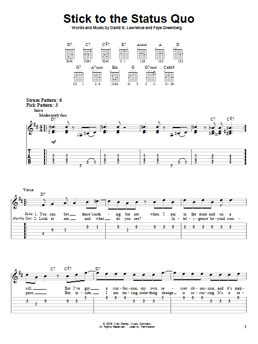 Stick To The Status Quo Sheet Music