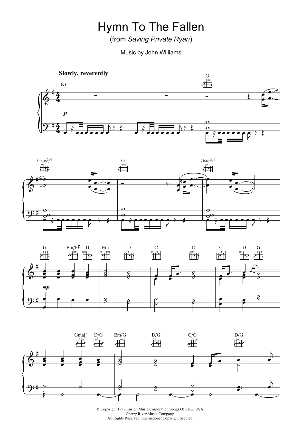 Hymn To The Fallen (from Saving Private Ryan) (Piano Solo)