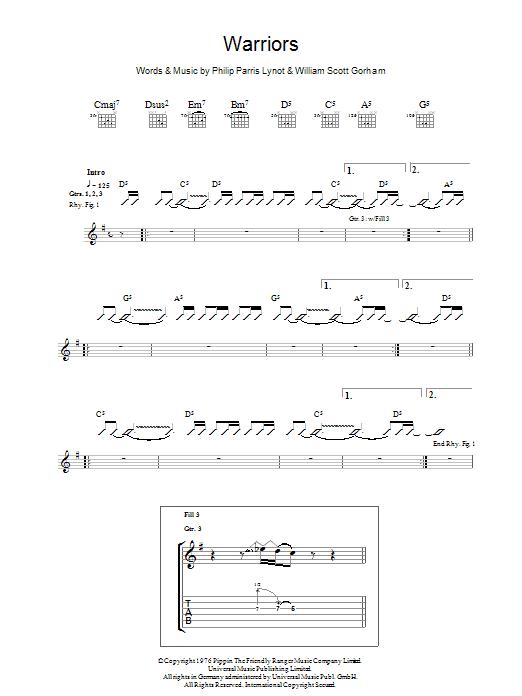 Warriors Sheet Music
