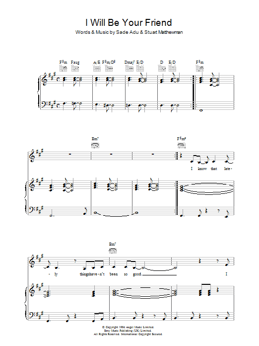 I Will Be Your Friend Sheet Music