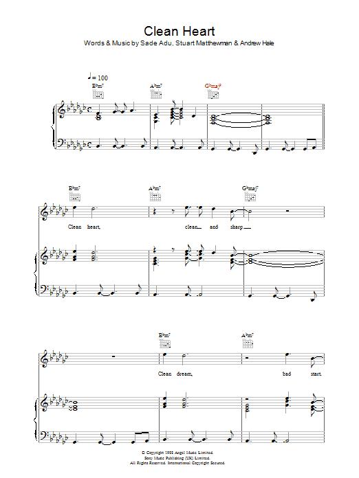 Clean Heart (Piano, Vocal & Guitar)