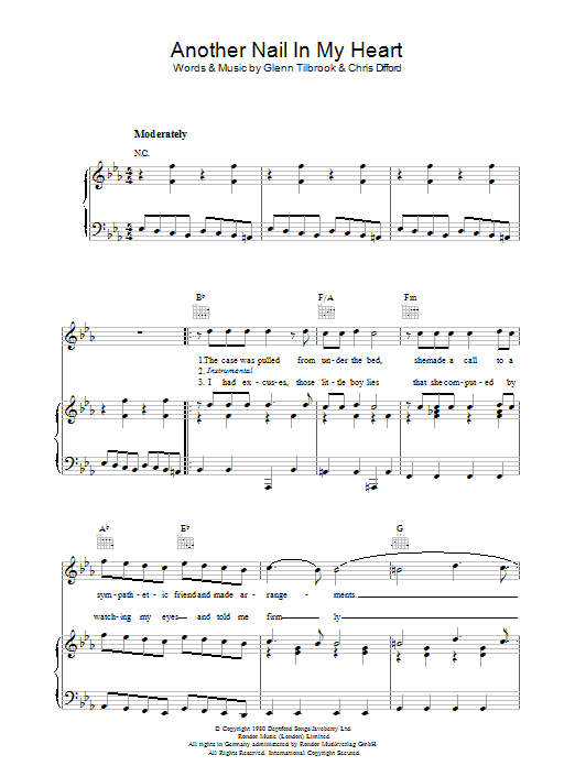 Another Nail In My Heart Sheet Music