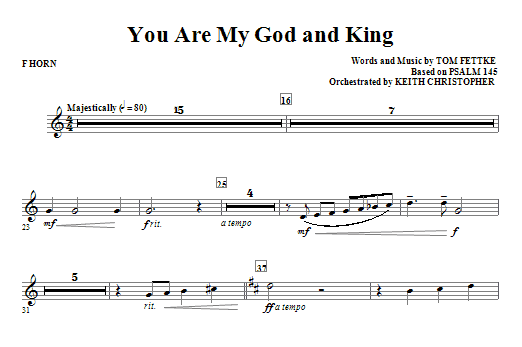 You Are My God And King - F Horn Sheet Music