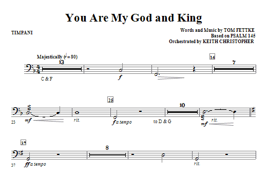 You Are My God And King - Timpani Sheet Music