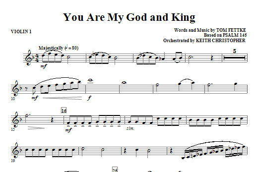 You Are My God And King - Violin 1 Sheet Music