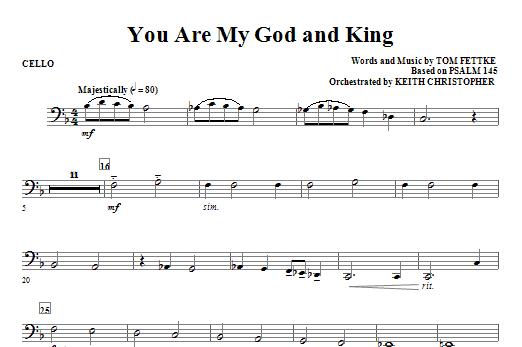 You Are My God And King - Cello Sheet Music