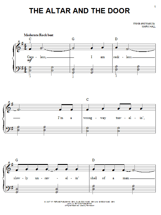 The Altar And The Door (Easy Piano)
