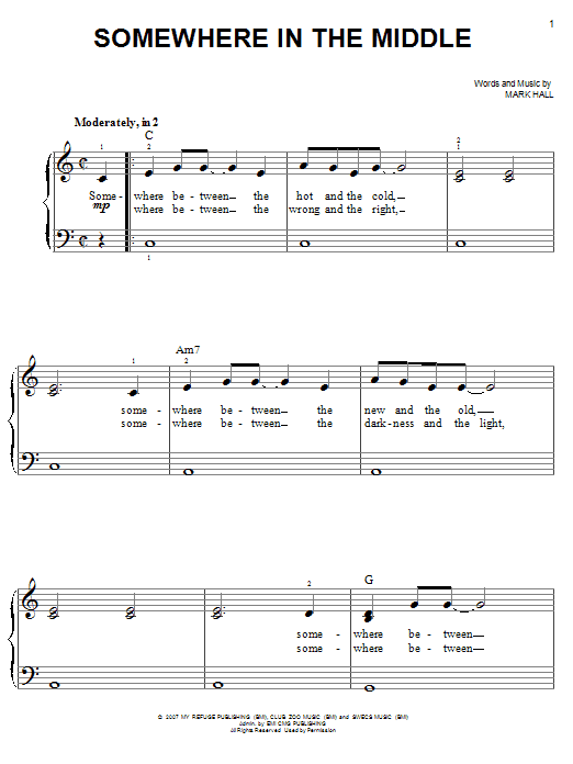 Somewhere In The Middle (Easy Piano)