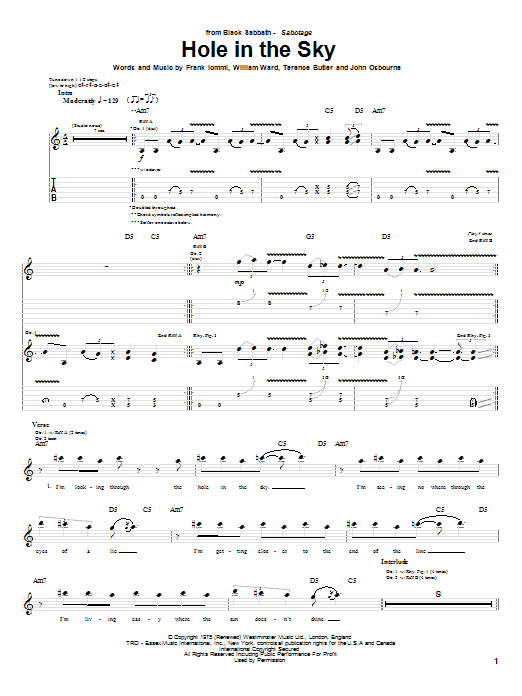 Tablature guitare Hole In The Sky de Black Sabbath - Tablature Guitare
