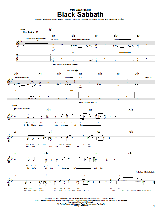 Tablature guitare Black Sabbath de Black Sabbath - Tablature Guitare