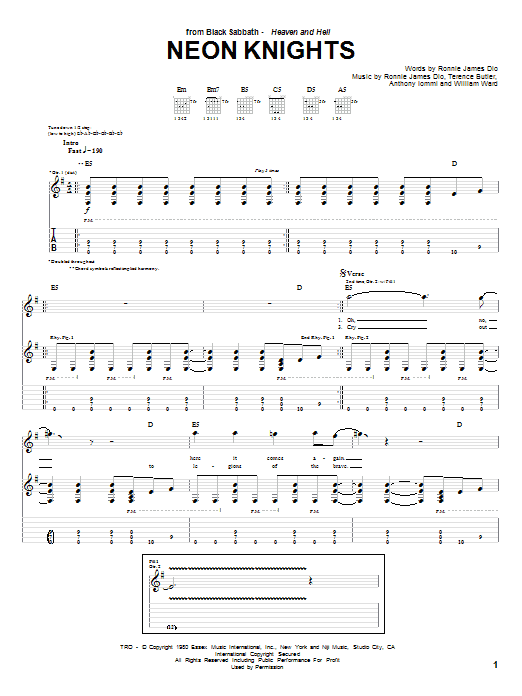 Neon Knights (Guitar Tab)