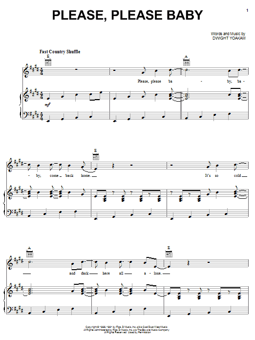 Please, Please Baby (Piano, Vocal & Guitar (Right-Hand Melody))