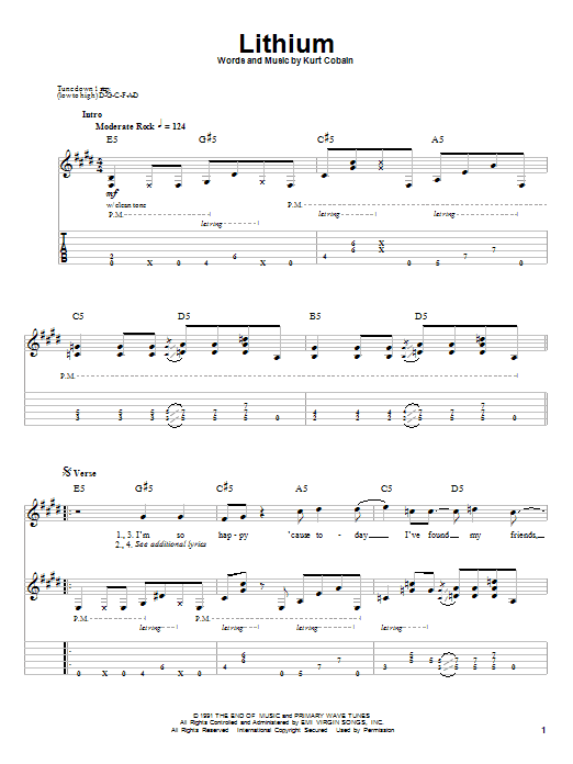 Lithium by Nirvana - Guitar Tab Play-Along - Guitar Instructor
