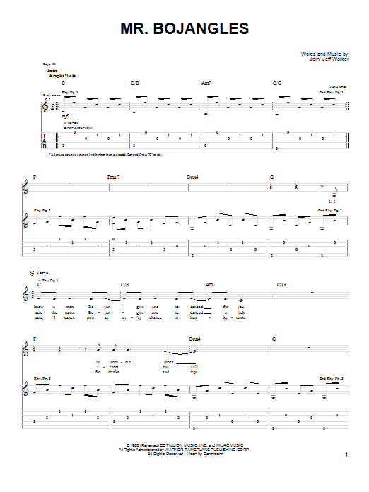 Tablature guitare Mr. Bojangles de John Denver - Tablature Guitare