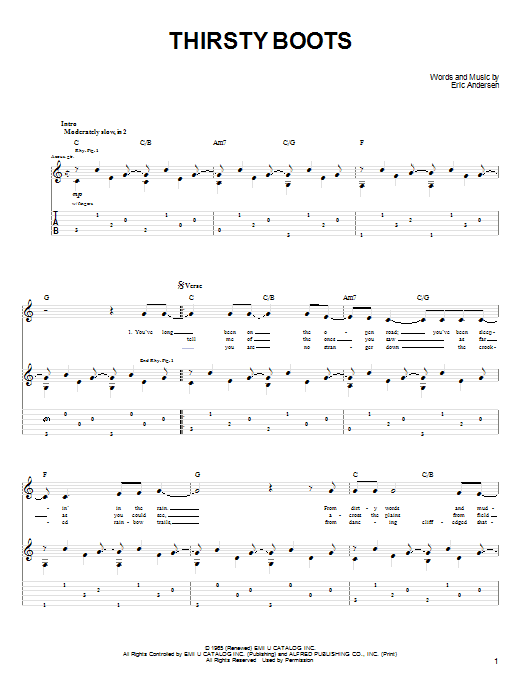 Thirsty Boots (Guitar Tab)