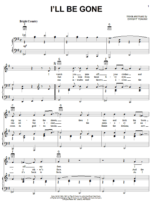 I'll Be Gone (Piano, Vocal & Guitar (Right-Hand Melody))