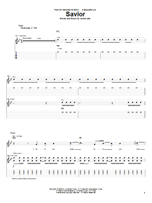 Savior (Guitar Tab)