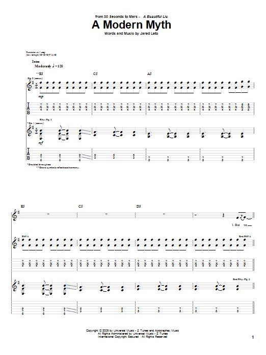 A Modern Myth Sheet Music