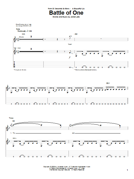 Battle Of One (Guitar Tab)