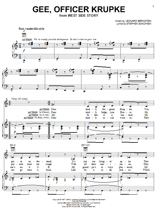 Gee, Officer Krupke (from West Side Story) (Piano, Vocal & Guitar (Right-Hand Melody))