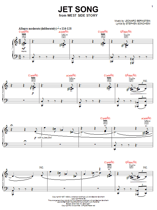 Jet Song (from West Side Story) (Piano, Vocal & Guitar (Right-Hand Melody))