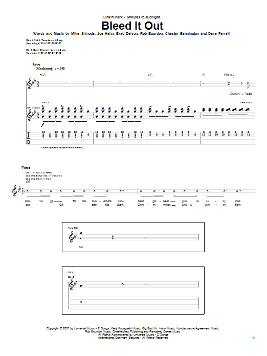 Bleed It Out Guitar Tab by Linkin Park (Guitar Tab – 62860)