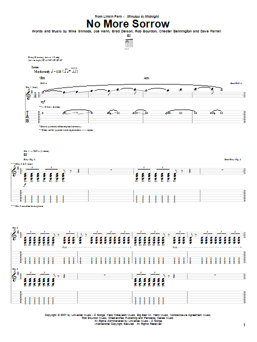Tablature guitare No More Sorrow de Linkin Park - Tablature Guitare