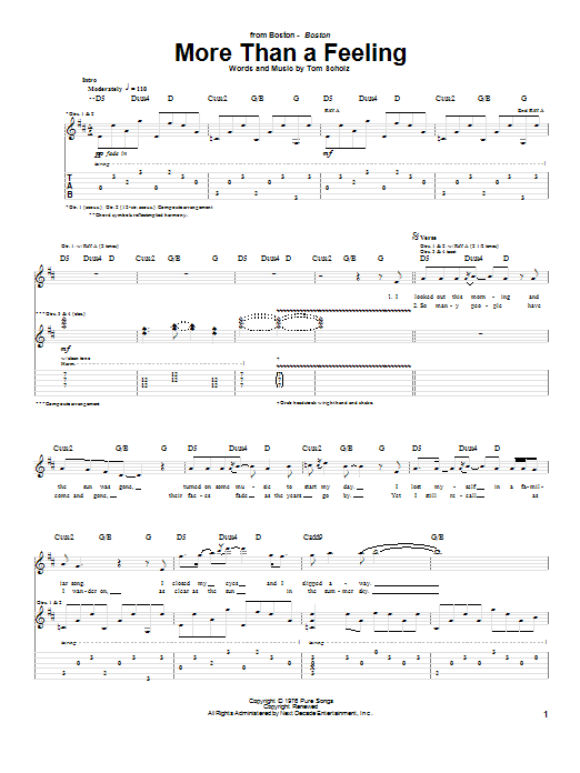 Tablature guitare More Than A Feeling de Boston - Tablature Guitare