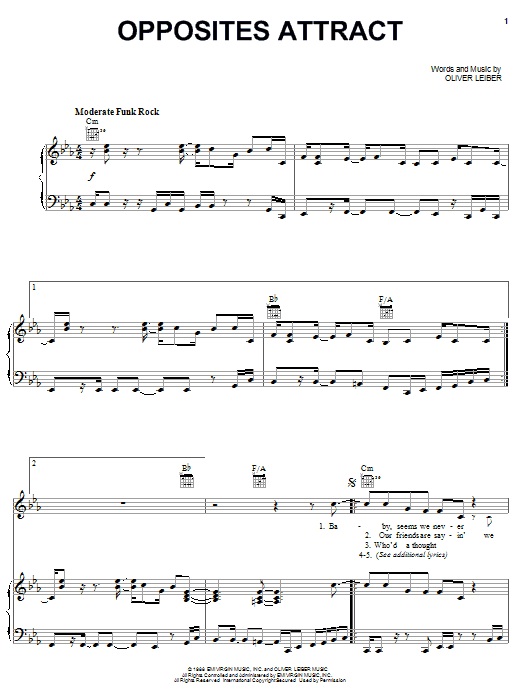 Partition piano Opposites Attract de Paula Abdul - Piano Voix Guitare (Mélodie Main Droite)
