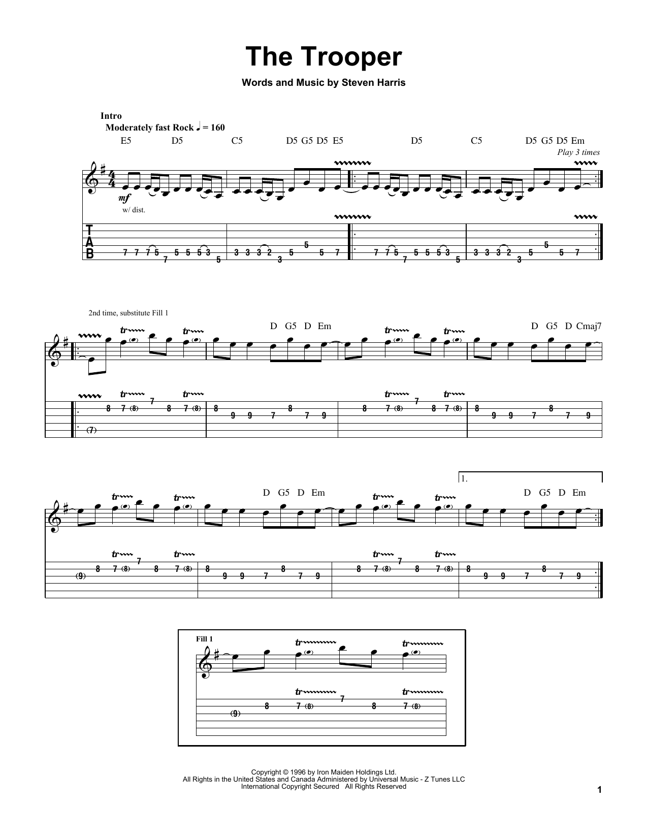 The Trooper sheet music by Iron Maiden (Guitar Tab Play-Along u2013 62881)