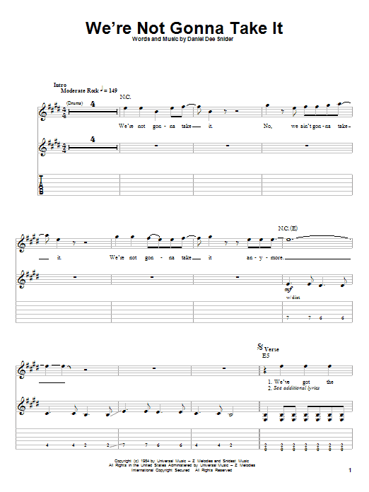 We're Not Gonna Take It (Guitar Tab (Single Guitar))