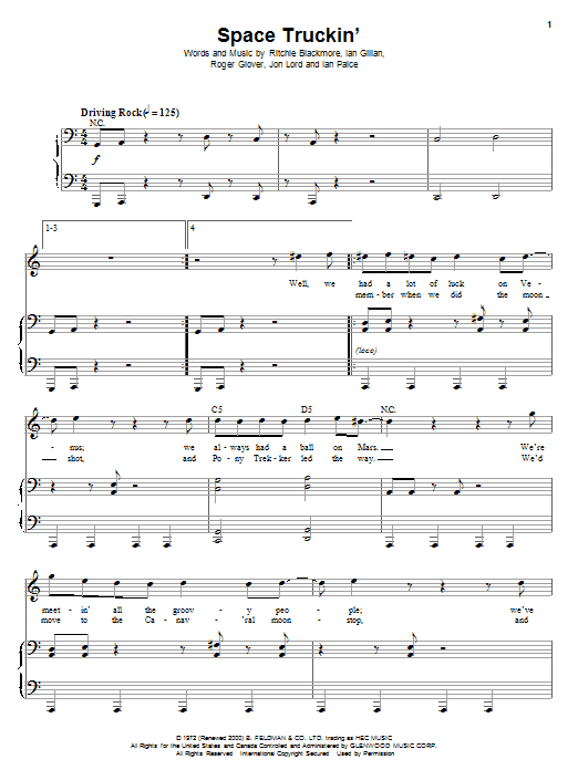 Space Truckin' Sheet Music