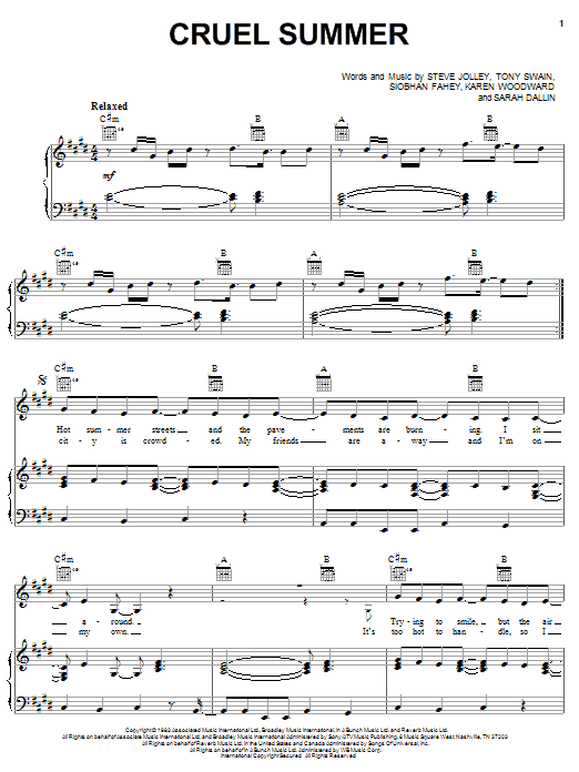 Cruel Summer Sheet Music
