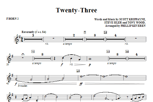 Twenty-Three - F Horn 2 Sheet Music