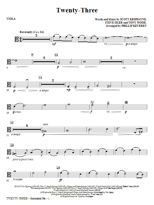Twenty-Three - Viola Sheet Music