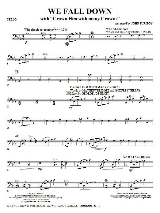 We Fall Down (with Crown Him With Many Crowns) - Cello (Choir Instrumental Pak)