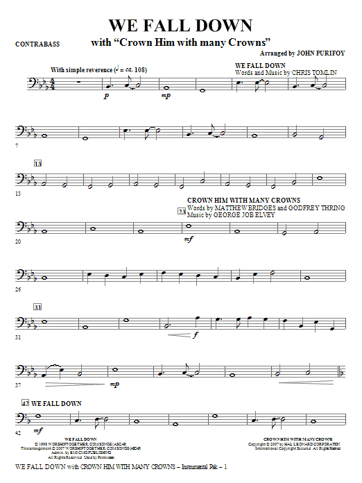 We Fall Down (with Crown Him With Many Crowns) - Contrabass Sheet Music
