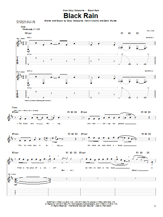 Black Rain Sheet Music