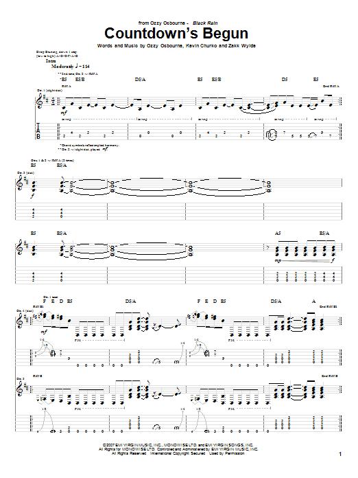 Tablature guitare Countdown's Begun de Ozzy Osbourne - Tablature Guitare