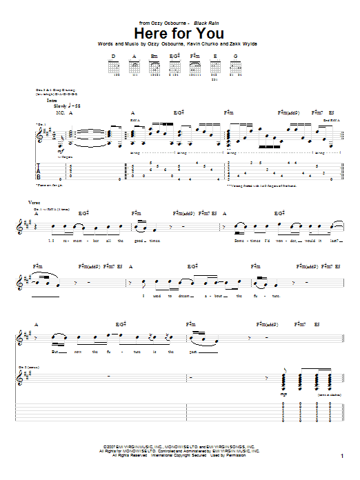 Tablature guitare Here For You de Ozzy Osbourne - Tablature Guitare
