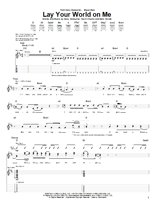 Tablature guitare Lay Your World On Me de Ozzy Osbourne - Tablature Guitare