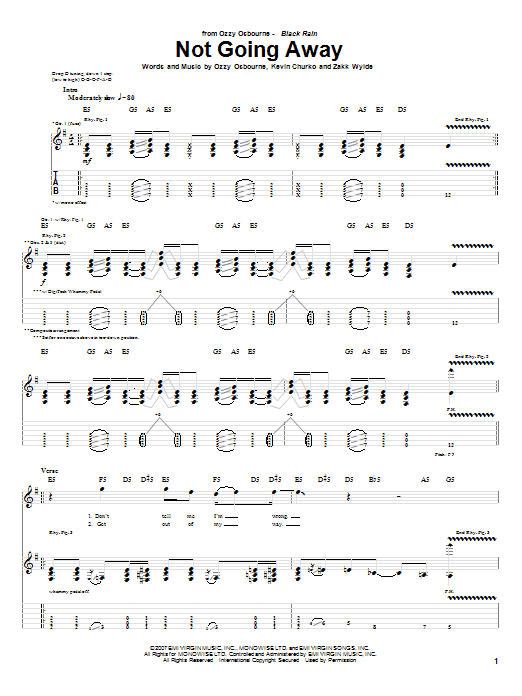 Tablature guitare Not Going Away de Ozzy Osbourne - Tablature Guitare