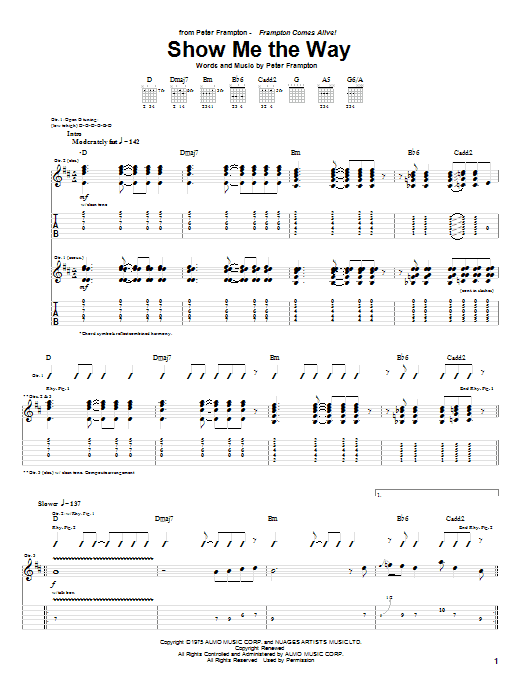 Tablature guitare Show Me The Way de Peter Frampton - Tablature Guitare