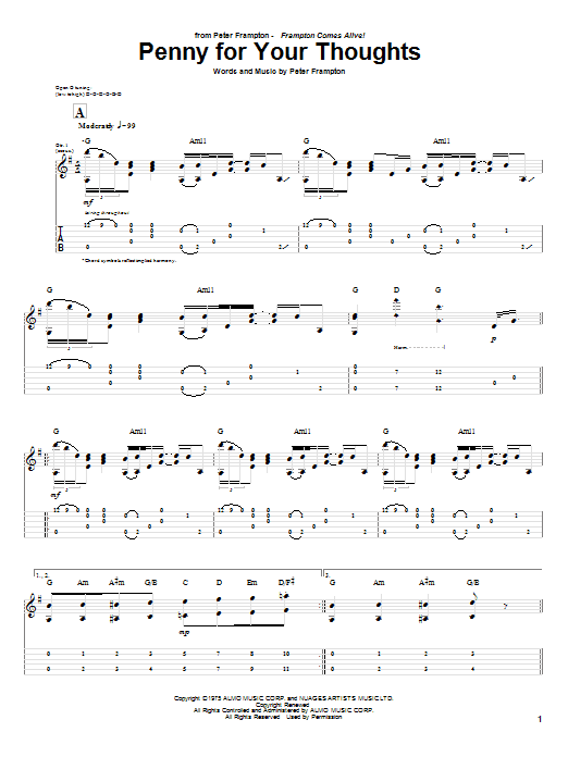 Tablature guitare Penny For Your Thoughts de Peter Frampton - Tablature Guitare