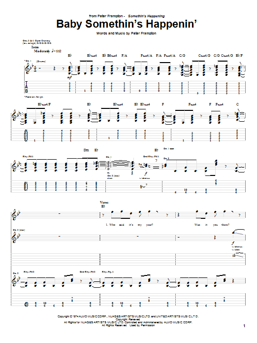 Tablature guitare Baby Somethin's Happenin' de Peter Frampton - Tablature Guitare