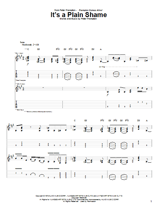 Tablature guitare It's A Plain Shame de Peter Frampton - Tablature Guitare