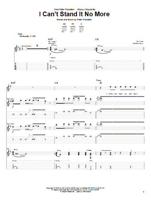 Tablature guitare I Can't Stand It No More de Peter Frampton - Tablature Guitare