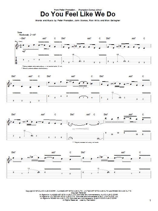Do You Feel Like We Do (Guitar Tab)