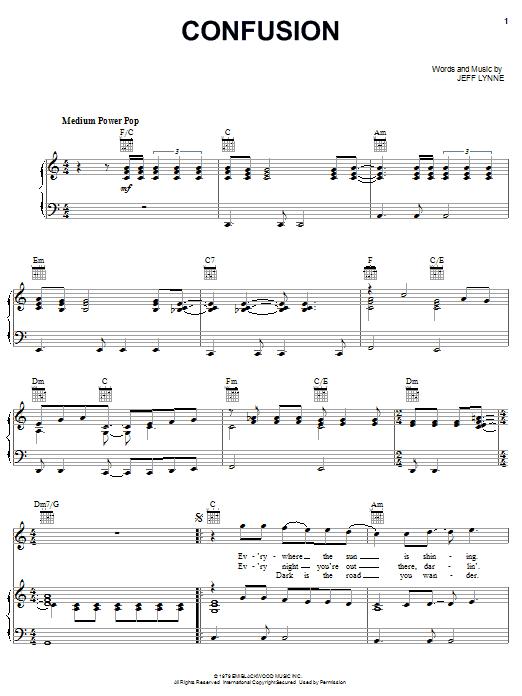 Partition piano Confusion de Electric Light Orchestra - Piano Voix Guitare (Mélodie Main Droite)