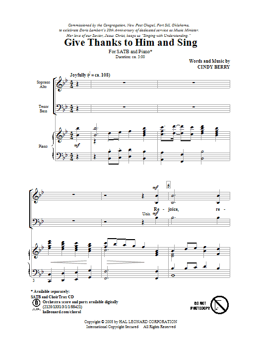 Partition chorale Give Thanks To Him And Sing de Cindy Berry - SATB
